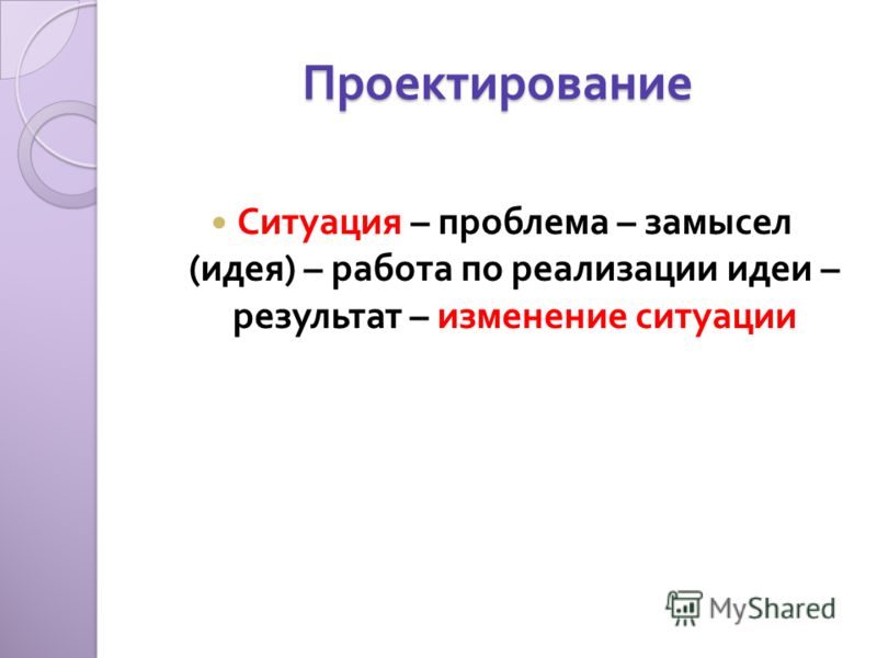 Проектирование Ситуация – проблема – замысел ( идея ) – работа по реализации идеи – результат – изменение ситуации