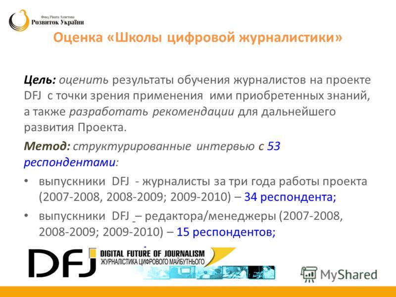 Оценка «Школы цифровой журналистики» Цель: оценить результаты обучения журналистов на проекте DFJ с точки зрения применения ими приобретенных знаний, а также разработать рекомендации для дальнейшего развития Проекта. Метод: структурированные интервью