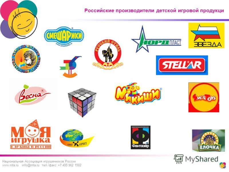 Российские производители детской игровой продукци Национальная Ассоциация игрушечников России www.rnta.ru info@rnta.ru тел./факс: +7 495 962 1502