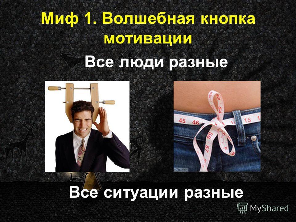 Миф 1. Волшебная кнопка мотивации Все люди разные Все ситуации разные
