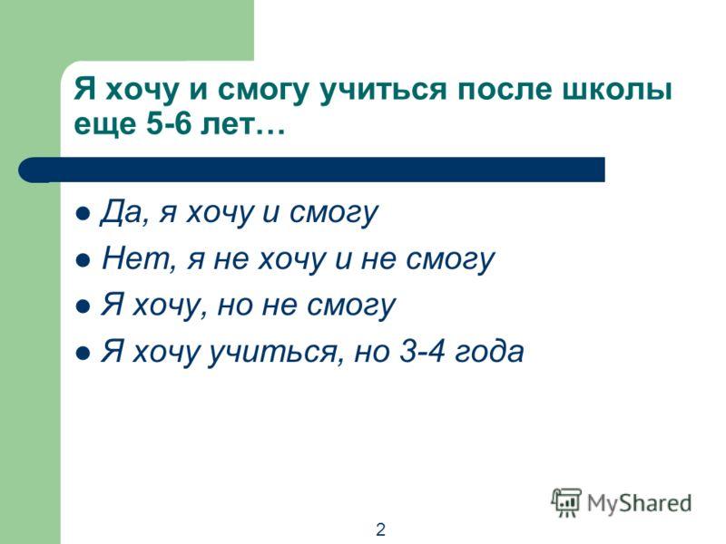 Я хочу и смогу учиться после школы еще 5-6 лет… Да, я хочу и смогу Нет, я не хочу и не смогу Я хочу, но не смогу Я хочу учиться, но 3-4 года 2