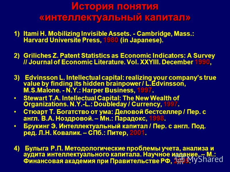 История понятия «интеллектуальный капитал» 1980 1)Itami H. Mobilizing Invisible Assets. - Cambridge, Mass.: Harvard Universite Press, 1980 (in Japanese). 1990 2)Griliches Z. Patent Statistics as Economic Indicators: A Survey // Journal of Economic Li