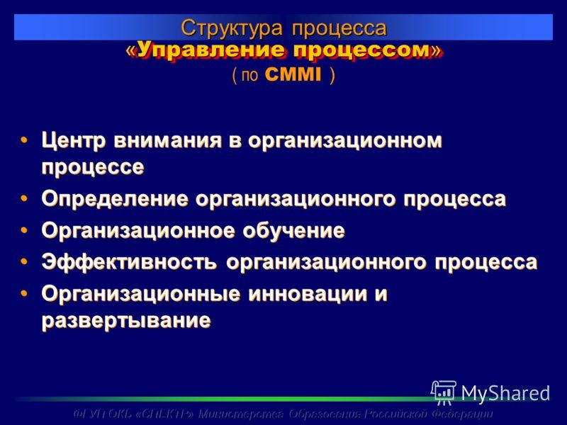 « Управление процессом » Структура процесса ( по CMMI ) Центр внимания в организационном процессе Определение организационного процесса Организационное обучение Эффективность организационного процесса Организационные инновации и развертывание Центр в