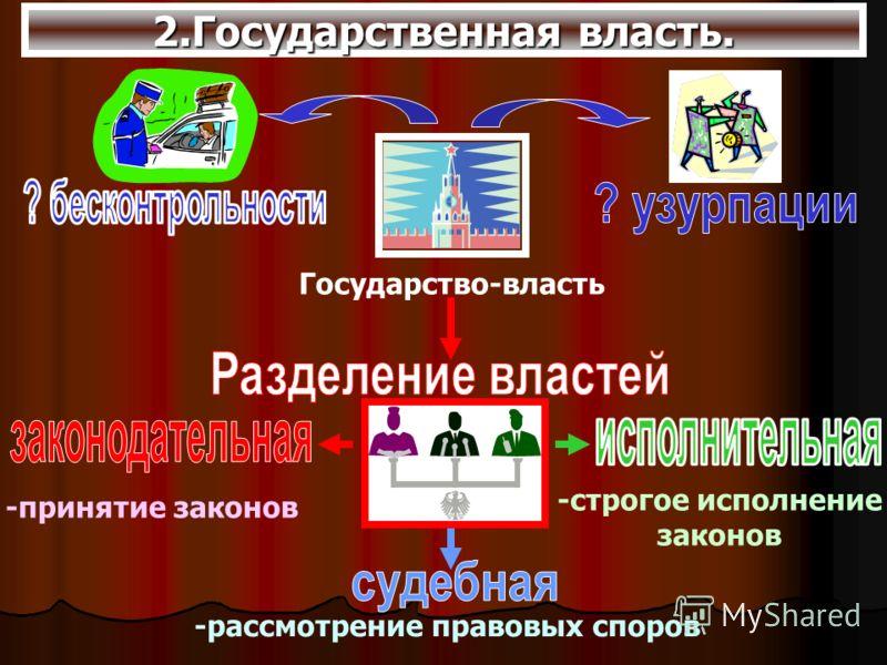 2.Государственная власть. Государство-власть -принятие законов -строгое исполнение законов -рассмотрение правовых споров