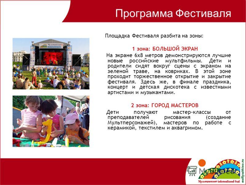 Программа Фестиваля Площадка Фестиваля разбита на зоны: 1 зона: БОЛЬШОЙ ЭКРАН На экране 6х8 метров демонстрируются лучшие новые российские мультфильмы. Дети и родители сидят вокруг сцены с экраном на зеленой траве, на ковриках. В этой зоне проходит т