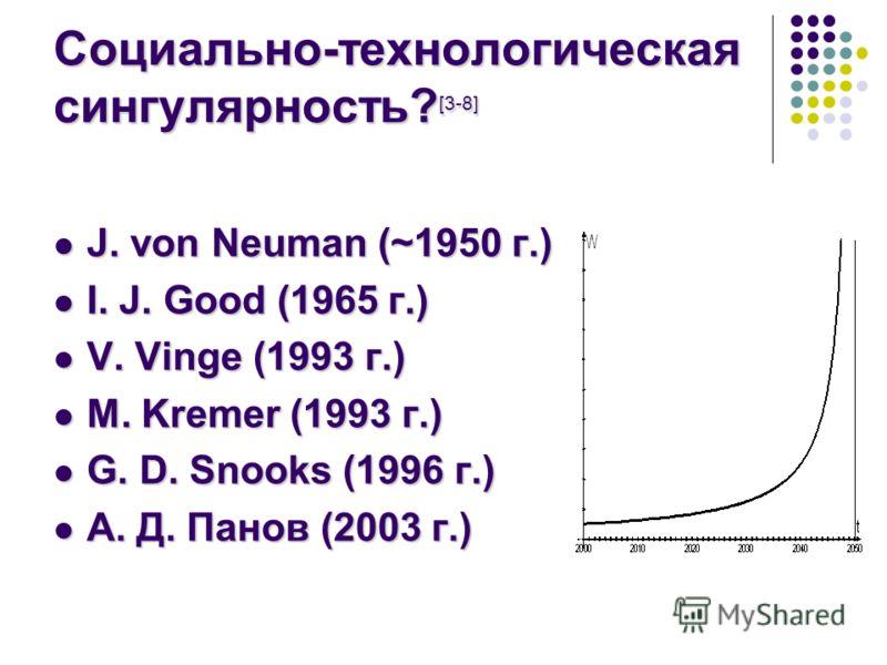 Социально-технологическая сингулярность? [3-8] J. von Neuman (~1950 г.) J. von Neuman (~1950 г.) I. J. Good (1965 г.) I. J. Good (1965 г.) V. Vinge (1993 г.) V. Vinge (1993 г.) M. Kremer (1993 г.) M. Kremer (1993 г.) G. D. Snooks (1996 г.) G. D. Snoo