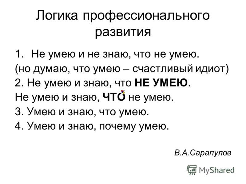 Логика профессионального развития 1.Не умею и не знаю, что не умею. (но думаю, что умею – счастливый идиот) 2. Не умею и знаю, что НЕ УМЕЮ. Не умею и знаю, ЧТО не умею. 3. Умею и знаю, что умею. 4. Умею и знаю, почему умею. В.А.Сарапулов