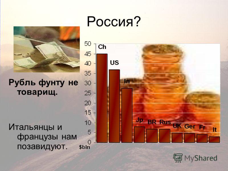 Россия? Рубль фунту не товарищ. Итальянцы и французы нам позавидуют.