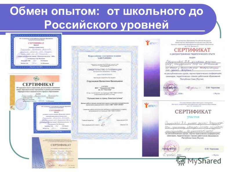 Обмен опытом: от школьного до Российского уровней