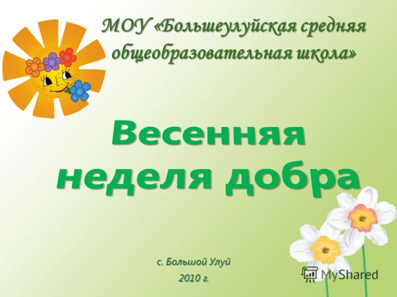 МОУ «Большеулуйская средняя общеобразовательная школа» с. Большой Улуй 2010 г.