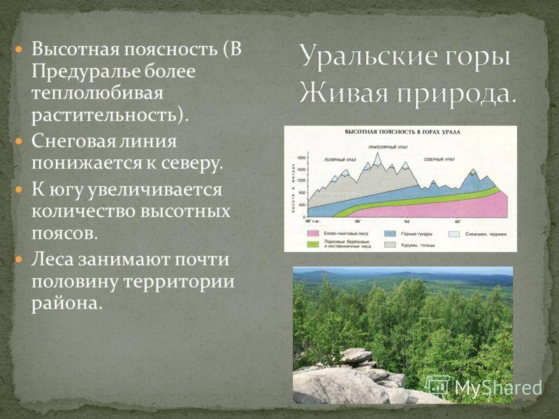 Высотная поясность (В Предуралье более теплолюбивая растительность). Снеговая линия понижается к северу. К югу увеличивается количество высотных поясов. Леса занимают почти половину территории района.