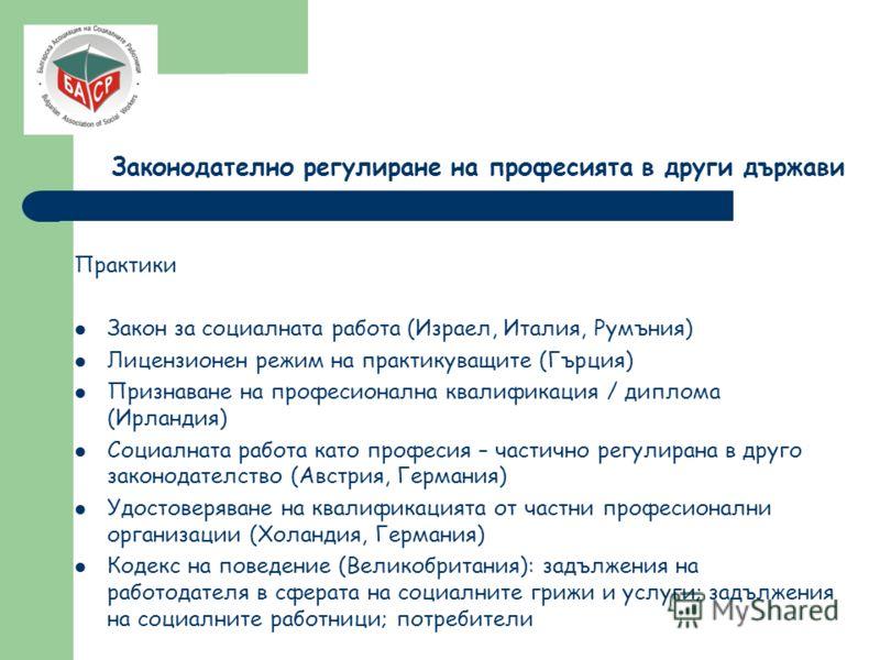 Законодателно регулиране на професията в други държави Практики Закон за социалната работа (Израел, Италия, Румъния) Лицензионен режим на практикуващите (Гърция) Признаване на професионална квалификация / диплома (Ирландия) Социалната работа като про