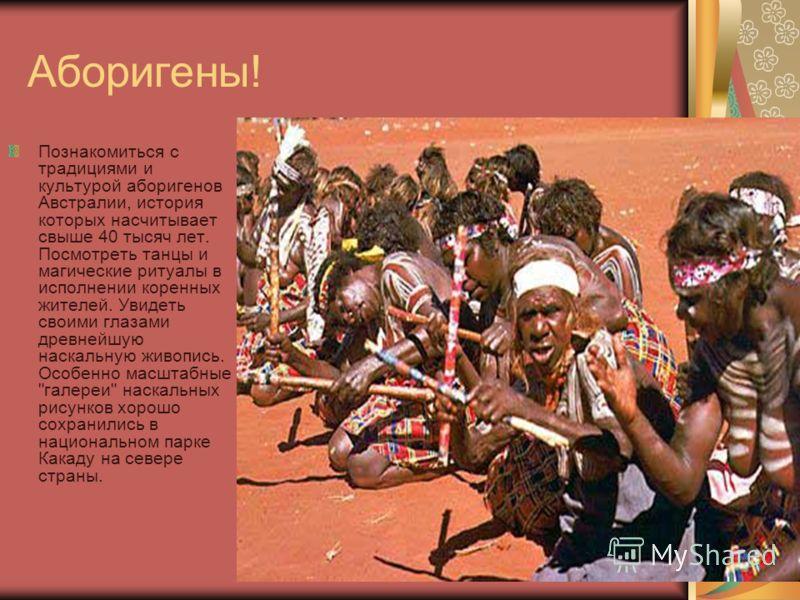 Аборигены! Познакомиться с традициями и культурой аборигенов Австралии, история которых насчитывает свыше 40 тысяч лет. Посмотреть танцы и магические ритуалы в исполнении коренных жителей. Увидеть своими глазами древнейшую наскальную живопись. Особен