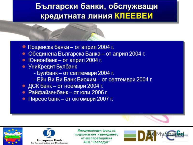 Договорни взаимоотношения 7 банки – партньори от България 7 банки – партньори от България EnCon Services Фирми потребители ЕБВР Независим енергиен експерт (ESBI) Договорености за кредитиране Договорености за заем Консултантски договор Изпълнение на п