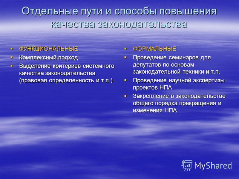 Отдельные пути и способы повышения качества законодательства ФУНКЦИОНАЛЬНЫЕ ФУНКЦИОНАЛЬНЫЕ Комплексный подход Комплексный подход Выделение критериев системного качества законодательства (правовая определенность и т.п.) Выделение критериев системного