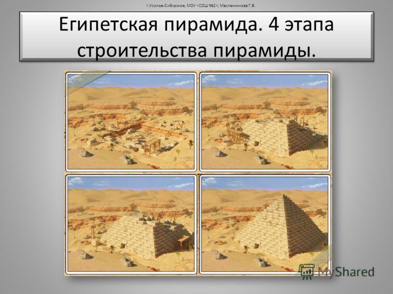 Египетская пирамида. 4 этапа строительства пирамиды. г.Усолье-Сибирское, МОУ «СОШ 2», Масленникова Г.В.