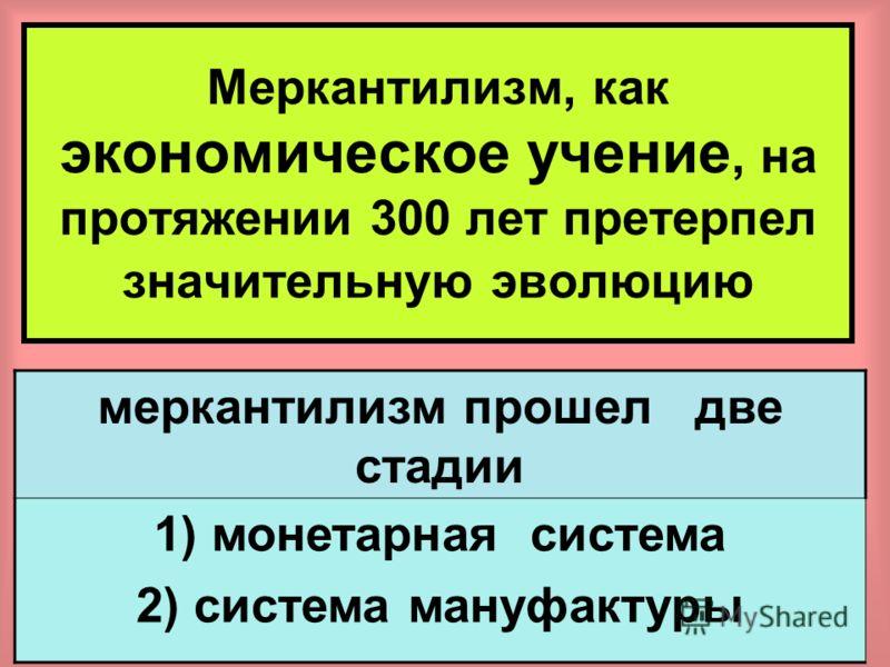 13 Вопрос 2 Этапы развития теории меркантилизм