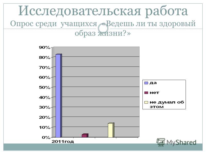 Исследовательская работа Опрос среди учащихся «Ведешь ли ты здоровый образ жизни?»