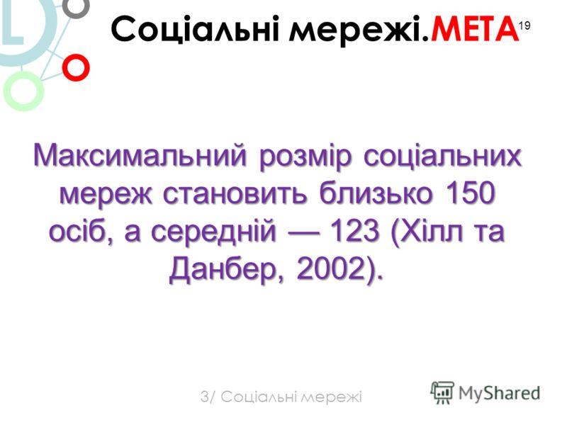 19 Максимальний розмір соціальних мереж становить близько 150 осіб, а середній 123 (Хілл та Данбер, 2002). 3/ Соціальні мережі Соціальні мережі.МЕТА L