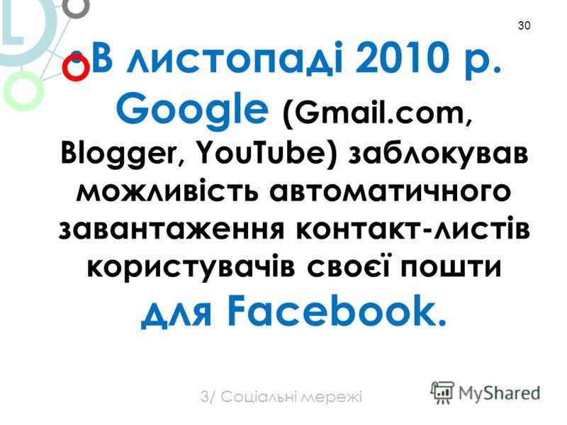 В листопаді 2010 р. Google (Gmail.com, Blogger, YouTube) заблокував можливість автоматичного завантаження контакт-листів користувачів своєї пошти для Facebook. 30 3/ Соціальні мережі L