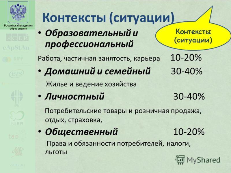 Российская академия образования Контексты (ситуации) Образовательный и профессиональный Работа, частичная занятость, карьера 10-20% Домашний и семейный 30-40% Жилье и ведение хозяйства Личностный 30-40% Потребительские товары и розничная продажа, отд