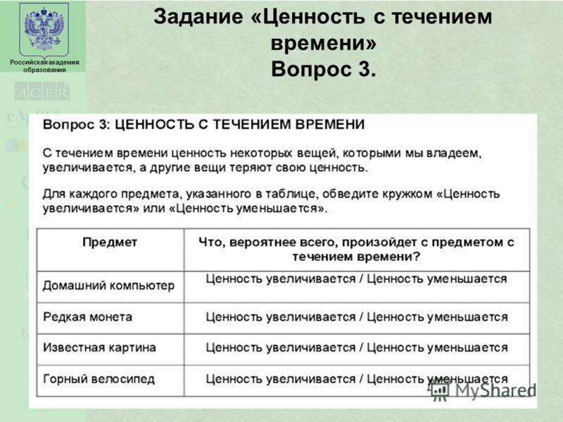 Российская академия образования Задание «Ценность с течением времени» Вопрос 3.