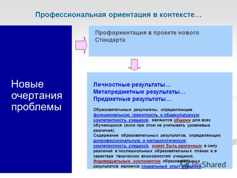 Новые очертания проблемы Профориентация в проекте нового Стандарта Профессиональная ориентация в контексте… Личностные результаты… Метапредметные результаты… Предметные результаты… Образовательные результаты, определяющие функциональную грамотность и
