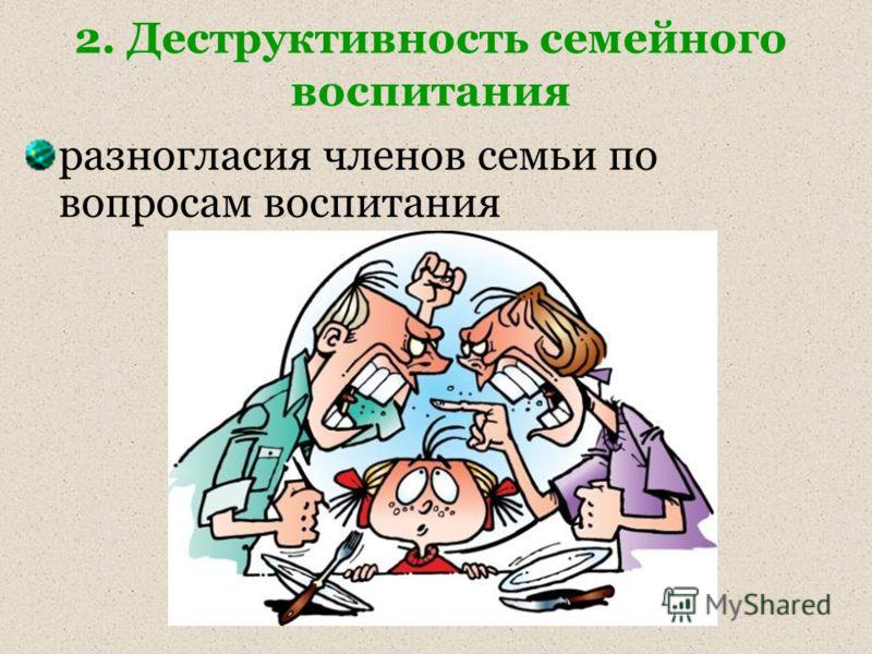 2. Деструктивность семейного воспитания разногласия членов семьи по вопросам воспитания