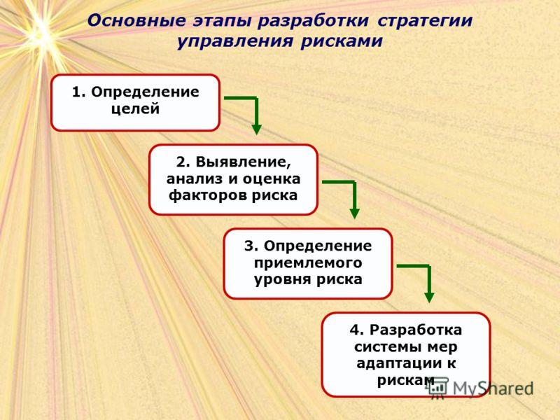 Основные этапы разработки стратегии управления рисками 1. Определение целей 2. Выявление, анализ и оценка факторов риска 3. Определение приемлемого уровня риска 4. Разработка системы мер адаптации к рискам