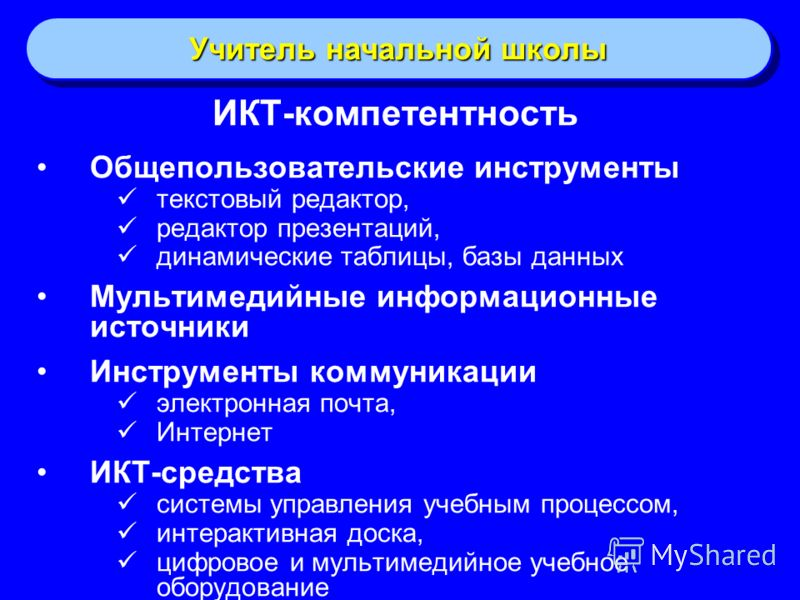 Учитель начальной школы ИКТ-компетентность Общепользовательские инструменты текстовый редактор, редактор презентаций, динамические таблицы, базы данны