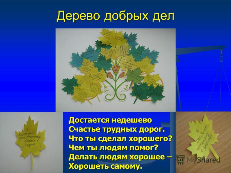 Дерево добрых дел Достается недешево Счастье трудных дорог. Что ты сделал хорошего? Чем ты людям помог? Достается недешево Счастье трудных дорог. Что ты сделал хорошего? Чем ты людям помог? Делать людям хорошее – Хорошеть самому.