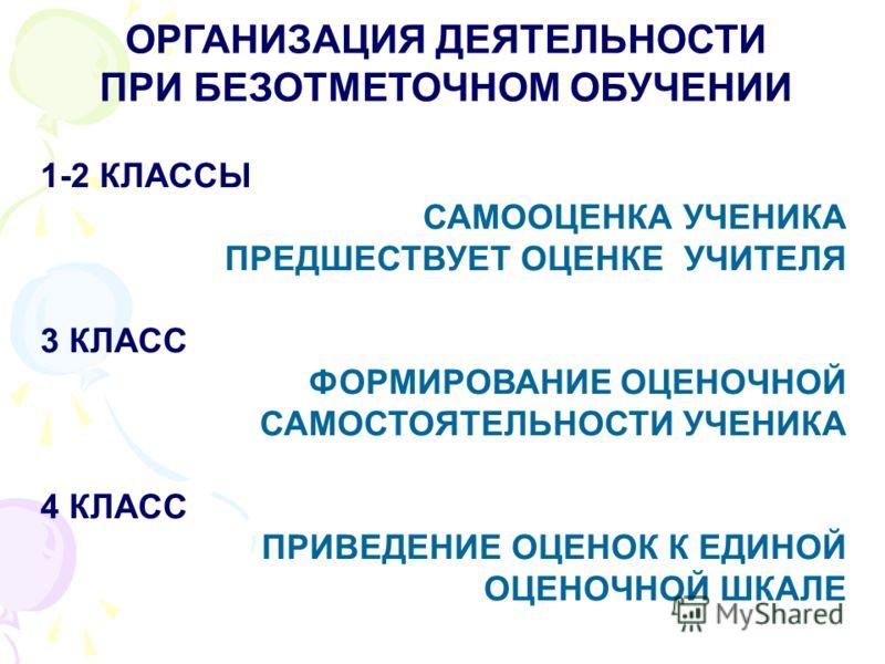 ОРГАНИЗАЦИЯ ДЕЯТЕЛЬНОСТИ ПРИ БЕЗОТМЕТОЧНОМ ОБУЧЕНИИ 1-2 КЛАССЫ САМООЦЕНКА УЧЕНИКА ПРЕДШЕСТВУЕТ ОЦЕНКЕ УЧИТЕЛЯ 3 КЛАСС ФОРМИРОВАНИЕ ОЦЕНОЧНОЙ САМОСТОЯТЕЛЬНОСТИ УЧЕНИКА 4 КЛАСС ПРИВЕДЕНИЕ ОЦЕНОК К ЕДИНОЙ ОЦЕНОЧНОЙ ШКАЛЕ