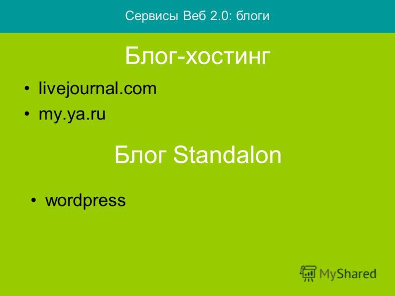 Блог-хостинг livejournal.com my.ya.ru Блог Standalon wordpress Сервисы Веб 2.0: блоги