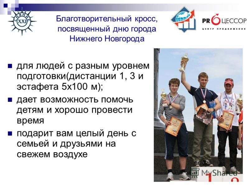 Благотворительный кросс, посвященный дню города Нижнего Новгорода для людей с разным уровнем подготовки(дистанции 1, 3 и эстафета 5х100 м); дает возможность помочь детям и хорошо провести время подарит вам целый день с семьей и друзьями на свежем воз