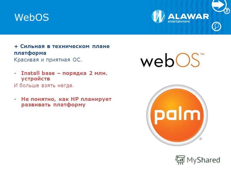 WebOS + Сильная в техническом плане платформа Красивая и приятная ОС. -Install base – порядка 2 млн. устройств И больше взять негде. -Не понятно, как HP планирует развивать платформу