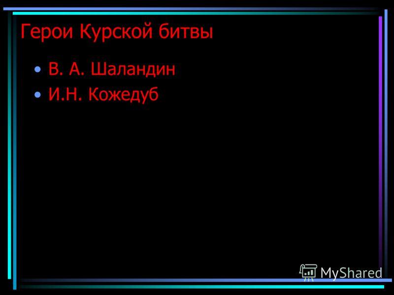 Герои Курской битвы В. А. Шаландин И.Н. Кожедуб