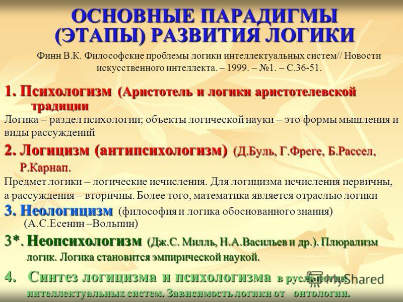 ОСНОВНЫЕ ПАРАДИГМЫ (ЭТАПЫ) РАЗВИТИЯ ЛОГИКИ 1. Психологизм (Аристотель и логики аристотелевской традиции Логика – раздел психологии; объекты логической науки – это формы мышления и виды рассуждений 2. Логицизм (антипсихологизм) (Д.Буль, Г.Фреге, Б.Рас