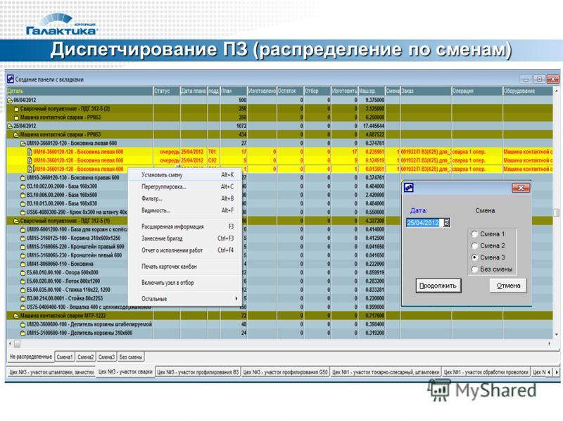 Диспетчирование ПЗ (распределение по сменам)