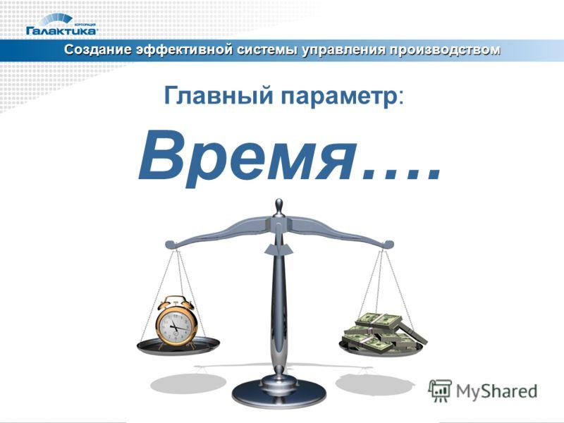 Создание эффективной системы управления производством Главный параметр: Время….