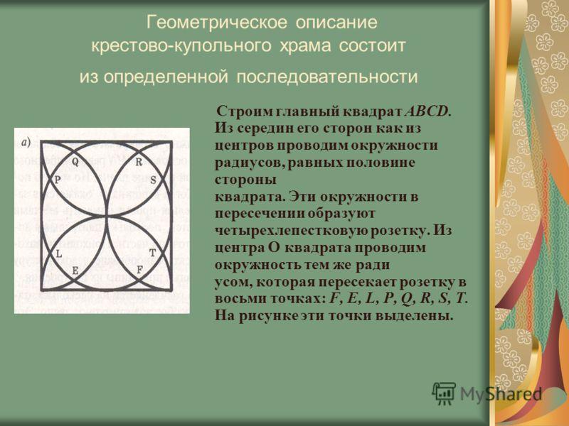 Геометрическое описание крестово-купольного храма состоит из определенной последовательности Строим главный квадрат ABCD. Из середин его сторон как из центров проводим окружности радиусов, равных половине стороны квадрата. Эти окружности в пересечени