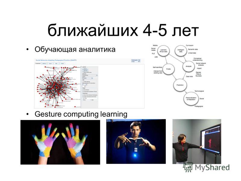 ближайших 4-5 лет Обучающая аналитика Gesture computing learning