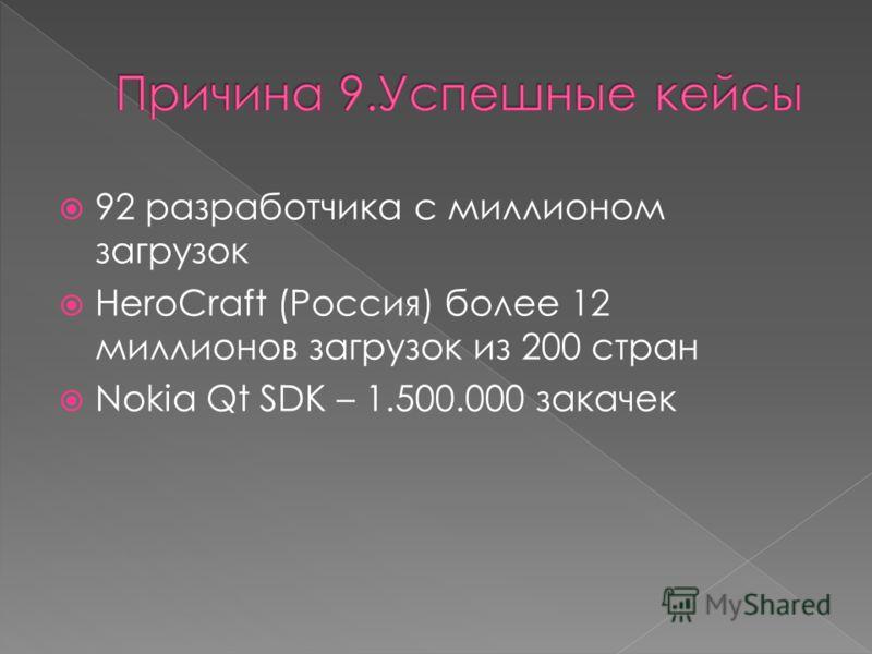 92 разработчика с миллионом загрузок HeroCraft (Россия) более 12 миллионов загрузок из 200 стран Nokia Qt SDK – 1.500.000 закачек