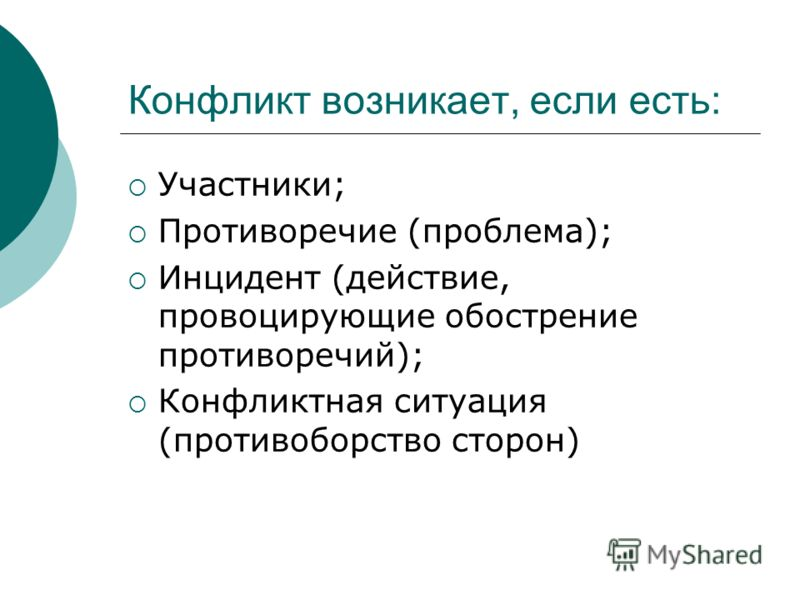 Конфликт возникает, если есть: Участники; Противоречие (проблема); Инцидент (действие, провоцирующие обострение противоречий); Конфликтная ситуация (противоборство сторон)