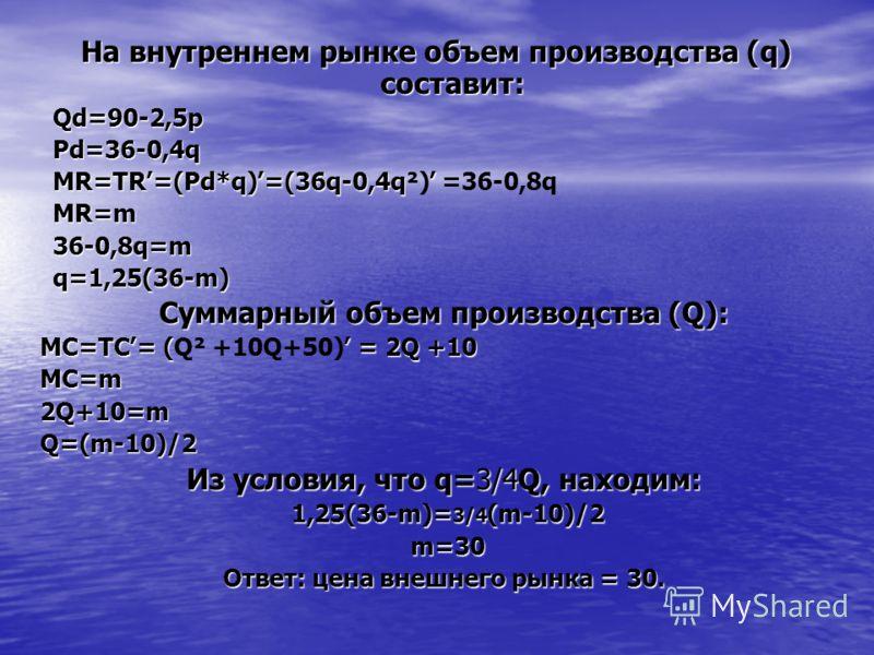 На внутреннем рынке объем производства (q) составит: Qd=90-2,5pPd=36-0,4q MR=TR׳=(Pd*q)׳=(36q-0,4q׳ MR=TR׳=(Pd*q)׳=(36q-0,4q²)׳ =36-0,8qMR=m36-0,8q=mq=1,25(36-m) Суммарный объем производства (Q): МС=ТС׳= (׳ = 2Q +10 МС=ТС׳= (Q² +10Q+50)׳ = 2Q +10MC=m