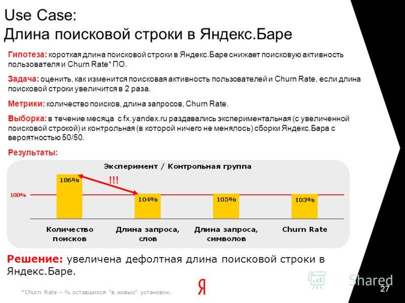 27 Use Case: Длина поисковой строки в Яндекс.Баре *Churn Rate – % оставшихся