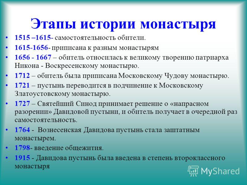 Этапы истории монастыря 1515 –1615- самостоятельность обители. 1615-1656- приписана к разным монастырям 1656 - 1667 – обитель относилась к великому творению патриарха Никона - Воскресенскому монастырю. 1712 – обитель была приписана Московскому Чудову