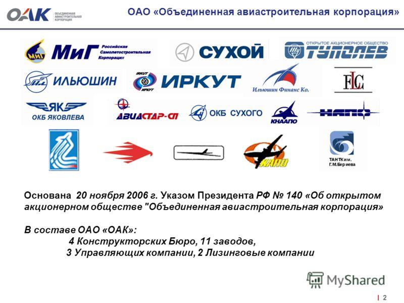 2 ОАО «Объединенная авиастроительная корпорация» Основана 20 ноября 2006 г. Указом Президента РФ 140 «Об открытом акционерном обществе