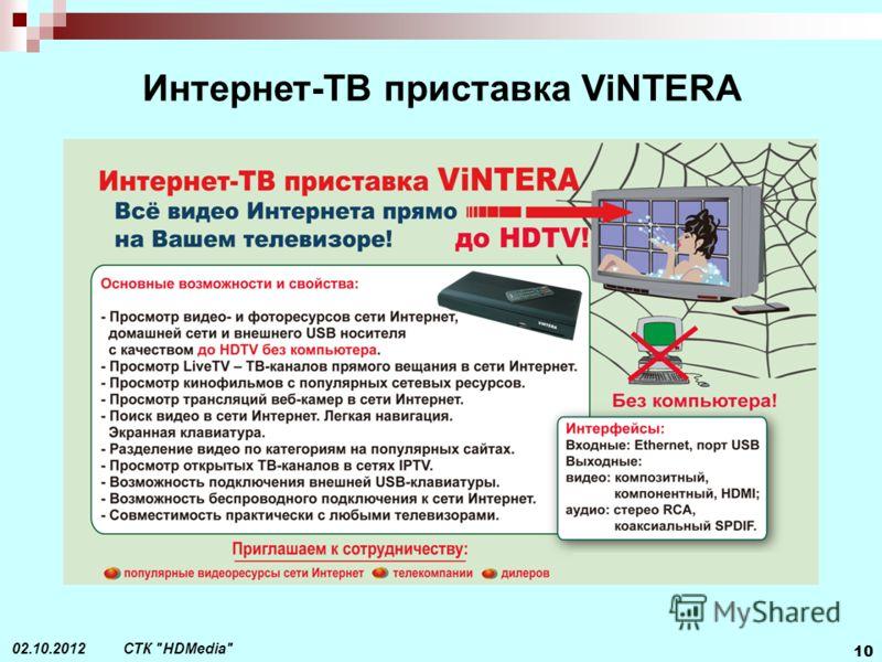 СТК HDMedia 10 29.08.2012 Интернет-ТВ приставка ViNTERA