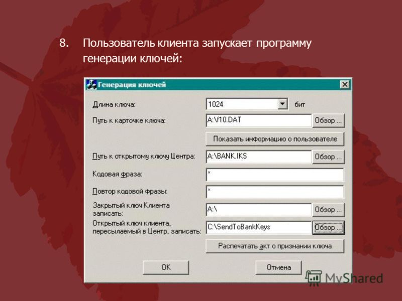 8.Пользователь клиента запускает программу генерации ключей: