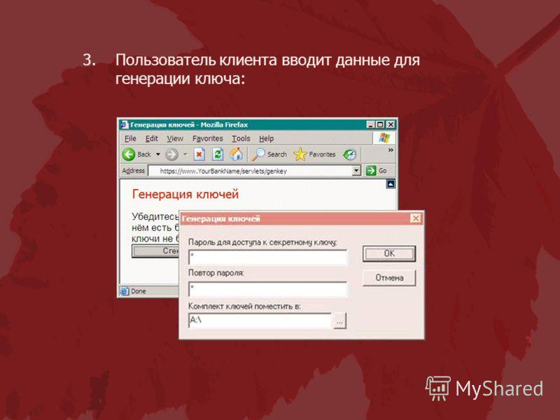 3.Пользователь клиента вводит данные для генерации ключа: